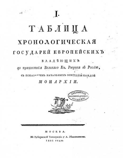 I таблица хронологическая государей европейских владеющих до пришествия великого кн. Рюрика в Россию