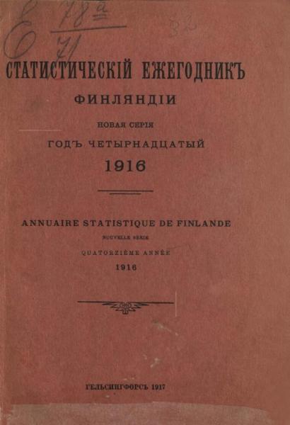 Статистический ежегодник Финляндии. Annuaire statistique de Finlande. 1916 год